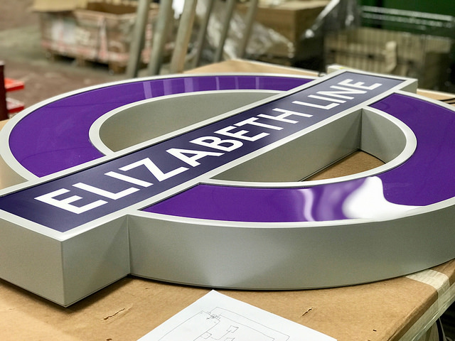 Elizabeth Line roundel in workshop