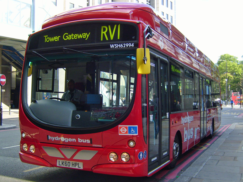 First London hydrogen fuel-cell bus on route RV1.