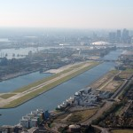 London City Airport, with the Thames Barrier on the left.