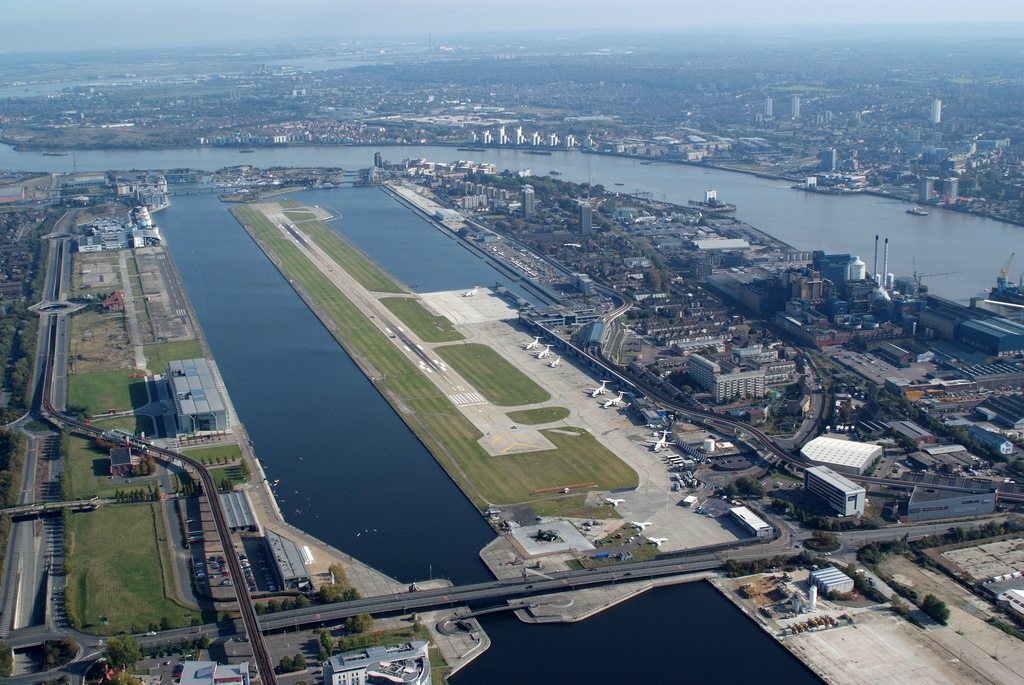 The runway at London City, bordered by the Royal Albert and King George V docks.