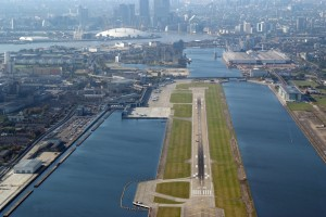 The runway, with the O2 in the background.