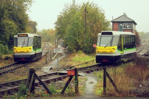 Stourbridge Railbuses 139001 and 139002 - the only two in the UK - at Stourbridge Junction.