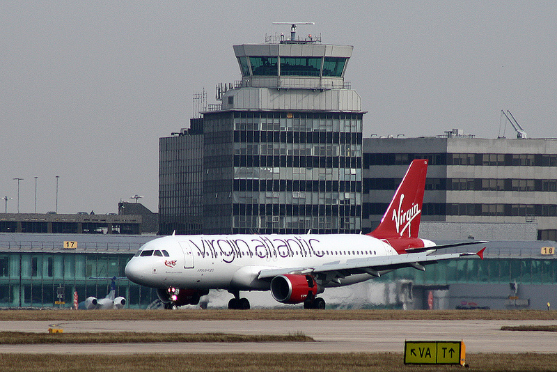 Little Red Airbus A320 at Manchester Airport.