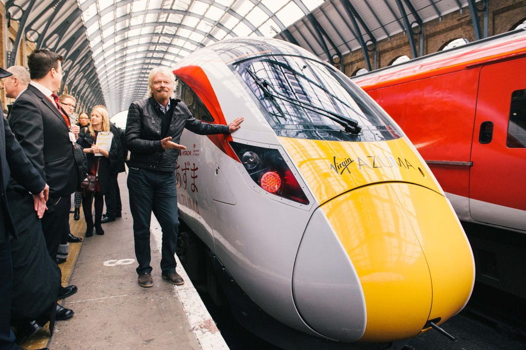 Sir Richard Branson launches the Virgin Azuma.