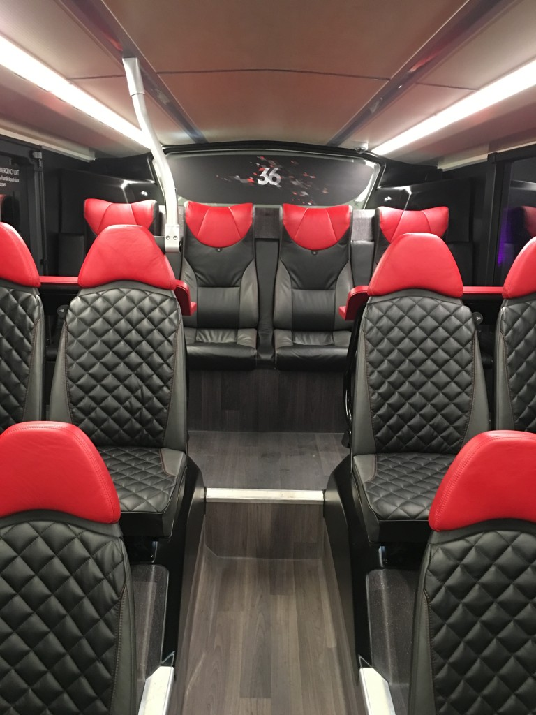 Spacious seating arrangement at the rear of the lower deck.