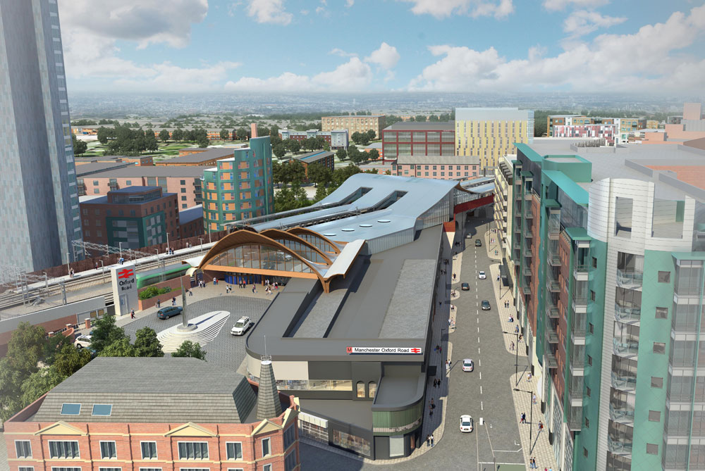 Aerial shot of the new overbridge at Oxford Road. Credit: Network Rail