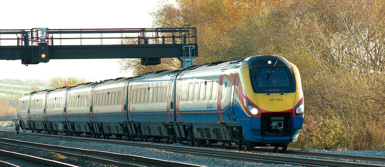 The Midland Mainline has been upgraded to allow running at 125mph. EMT Meridian 222005. Image credit: Martyn-Ahoy on Flickr.
