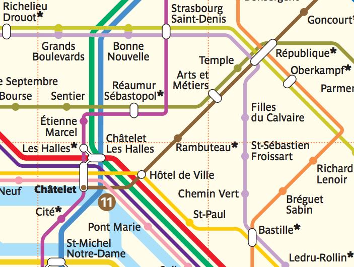 Arts et Metiers on the Metro Map