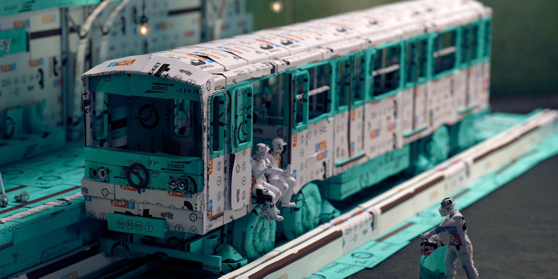 This Paris Métro made out of old train tickets is trés INCREDIBLE