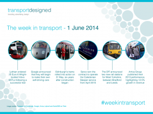 The week in transport, 1 June 2014. Copyright transportdesigned.