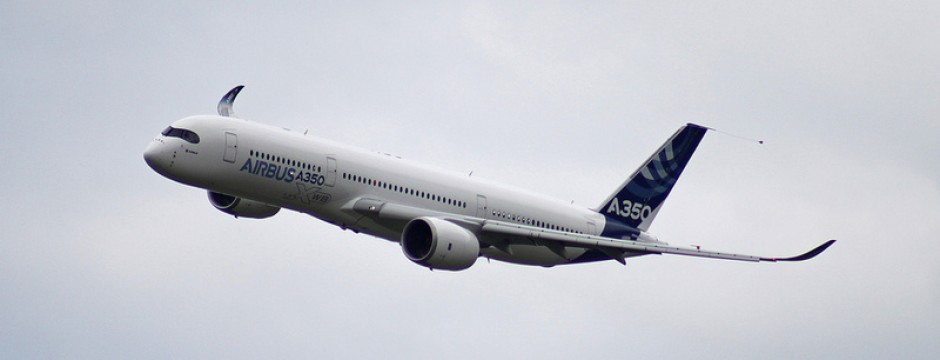 A350 XWB F-WXWB flies over Le Bourget. Image credit: famille.sebile on Flickr.