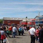 Crowds enjoy some of the historic Trent, Barton, MGO and other buses in the vintage section.