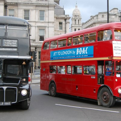 Routemasters side by side on Trafalgar Square