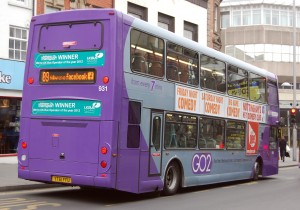 NCT OmniDekka 931 (YT61 FFU) loading on Parliament Street - and proudly showing off NCT's recent successes!