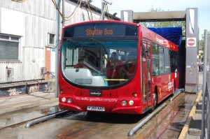 Guests enjoy a drive through the bus wash on board Trent Barton 674 (FJ55 AAO). Image copyright: transportdesigned.