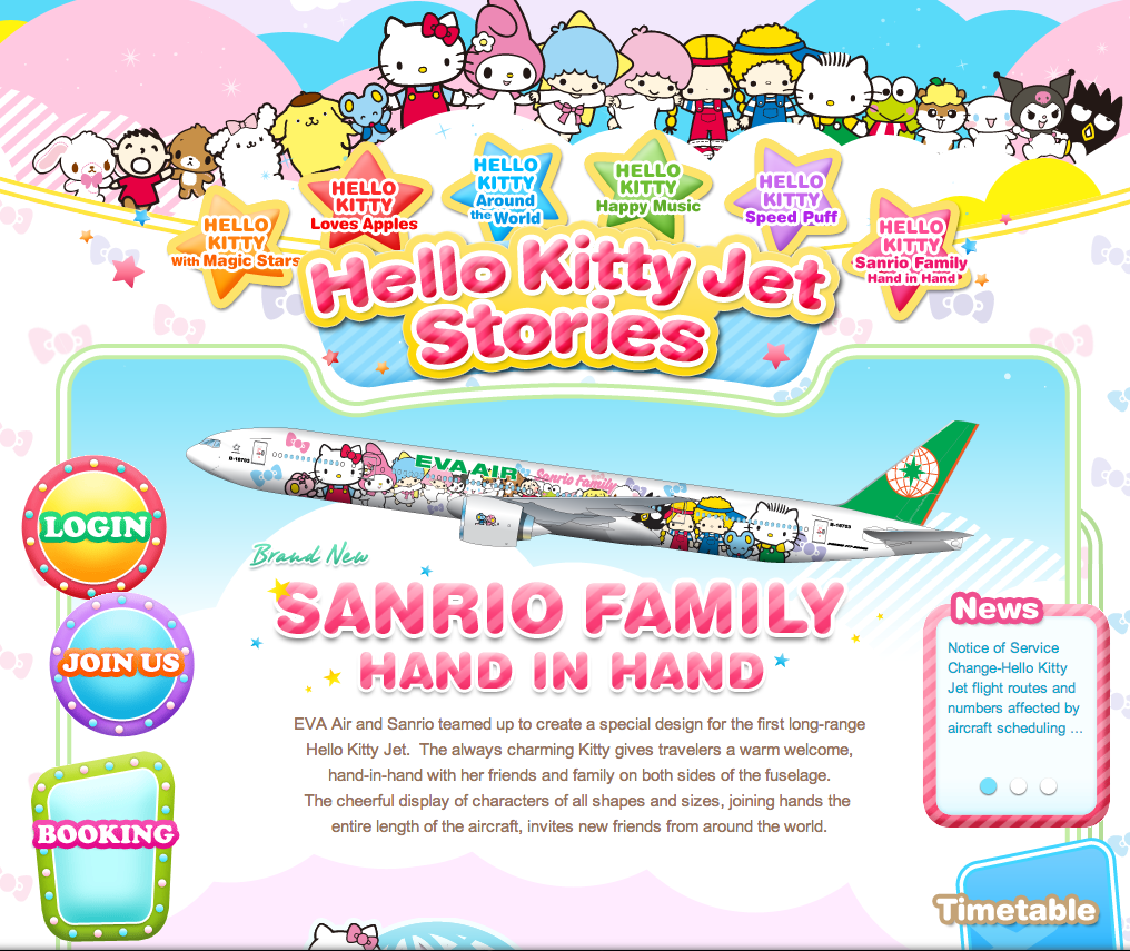 Eva Air and Sanrio teamed up to create the Hello Kitty jet.