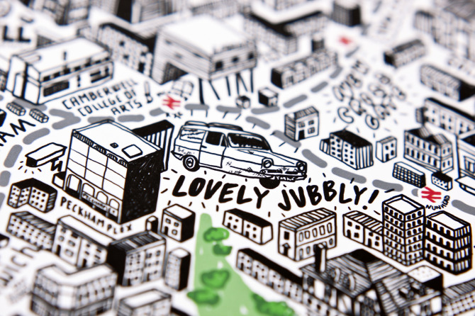 Jenni's map of London features many familiar sights...