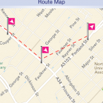 Screenshot from First's UK bus app showing a seemingly impossible bus route through central Manchester.