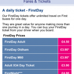 First Day prices in Manchester shown handily in the app.