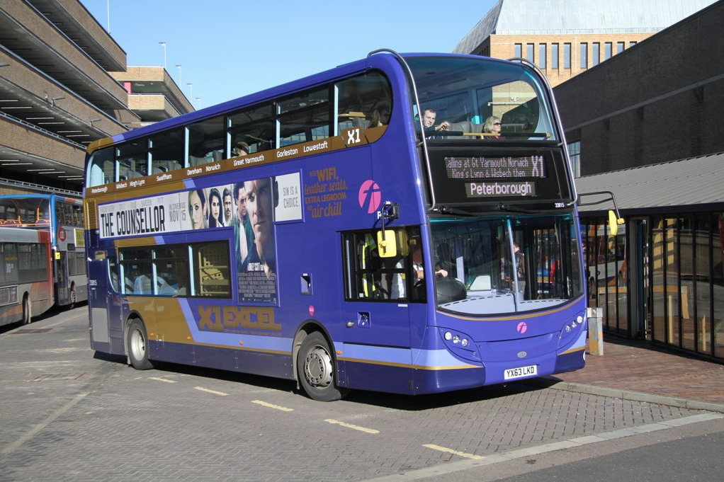 First have installed these plush new displays on it's X1 Enviro 400s for Eastern Counties. Image credit: DavidsTransportPix on Flickr.