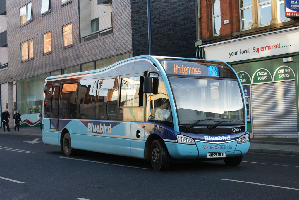 MM59 BLU was an Optare Solo SR in the Bluebird fleet before takeover by Stagecoach Manchester. Strangely, the blue number would blink and flash slowly in addition to being a different colour....quirky! Image credit: Atlantean OTO570M on Flickr.